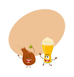 Funny beer glass and fried chicken leg characters vector