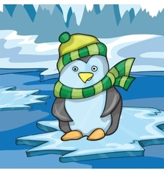 Funny penguin on ice background vector