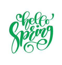 hand drawn hello spring text motivational vector image vector image