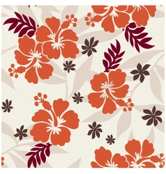 Hibiscus seamless flower pattern vector