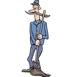 Janitor man with broom cartoon vector