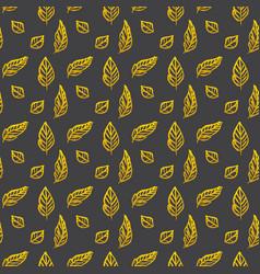 Leaf brush gold seamless pattern vector