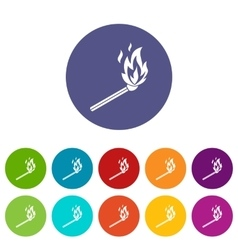 Match flame set icons vector image vector image