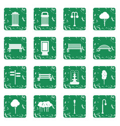 park icons set grunge vector image