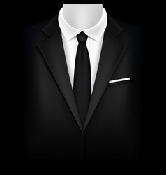 realistic detailed 3d black suit and tuxedo vector image vector image