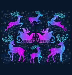 reindeer christmas icon set vector image vector image