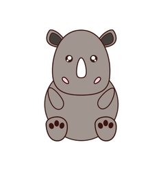 rhino kawaii cute animal icon vector image