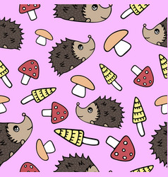 seamless pattern with lovely hand-drawn mushrooms vector image