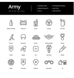 Simple army lline icons vector
