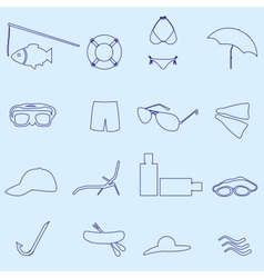 Summer and beach blue outline icons set eps10 vector