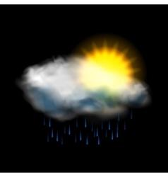 Sun cloud and rain weather icon vector image