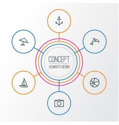 Sun outline icons set collection of ship animal vector