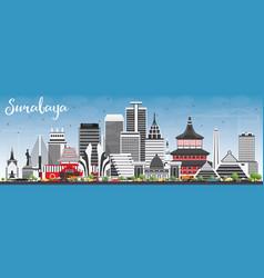 surabaya skyline with gray buildings and blue sky vector image vector image