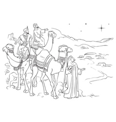 three wise men following the star of bethlehem vector image vector image