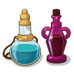 Two bottles of elixir on white background vector