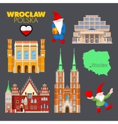 Wroclaw Poland Travel Doodle with Architecture vector image