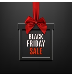 Black friday sale square banner in form of gift vector