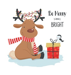 Cute christmas deer with little bird and gift vector