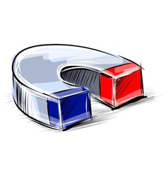 Glossy polished magnet sketch vector