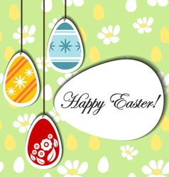 Easter background with hanging eggs vector