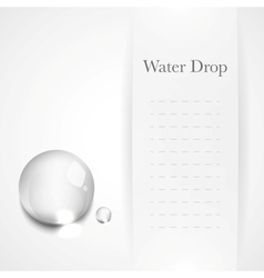 Transparent water drop on light gray background vector