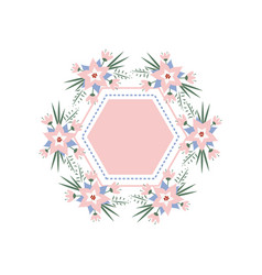 Floral vignette in the form of a rhombus vector