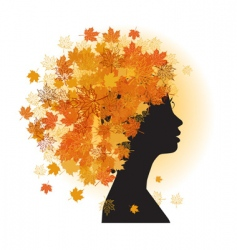 Stylized woman hairstyle autumn season vector