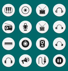 Set of 16 editable song icons includes symbols vector