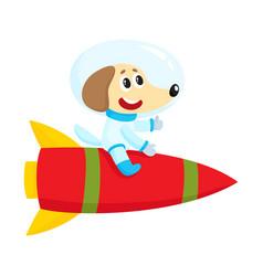 Cute little dog puppy astronaut spaceman vector