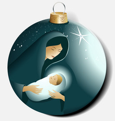 Christmas ball with Maria and Jesus vector image