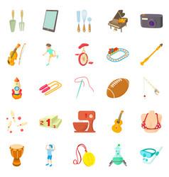 Hobby icons set cartoon style vector