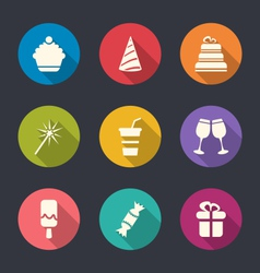 Set flat icons of party objects with long shadows vector