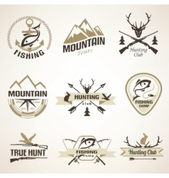 Set of vintage hunting and fishing emblems and vector