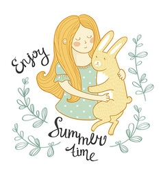 Summer card the girl with a rabbit in flowers vector