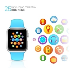 Smart watch with blue wristband vector image