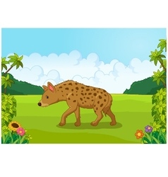 Cartoon hyena from the side vector