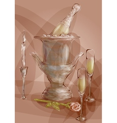 Champagne with red rose vector