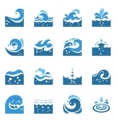 Blue wave icons set vector
