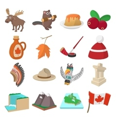Canada icons cartoon vector