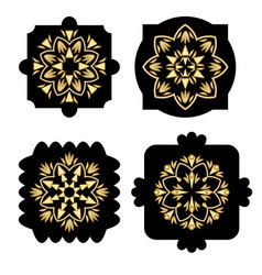 black shapes with golden antiquarian geometric vector image