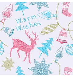 Card with deers and christmas decorations vector image vector image