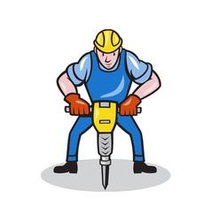 Construction worker jackhammer pneumatic drill vector