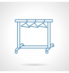 Dress hanger rack blue flat line icon vector image