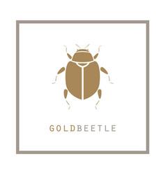 gold beetle in a frame emblem vector image vector image