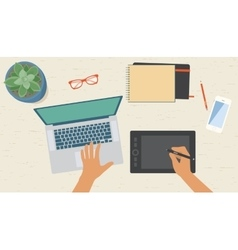 Graphic designer workplace top view vector