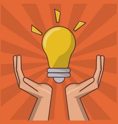 Hand holding lightbulb idea inspiration creative vector