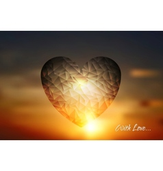 Heart geometric shape on sunset sky vector