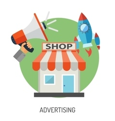 Internet Shopping and Marketing Flat Icon Set vector image vector image