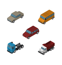 Isometric car set of freight truck car and other vector