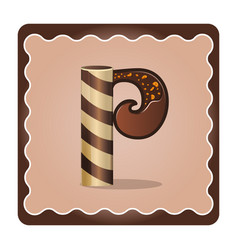 Letter p candies chocolate vector